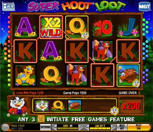 Super Hoot Loot Review Slots five of a kind with a 2x multiplier triggers a 1550 coin big win
