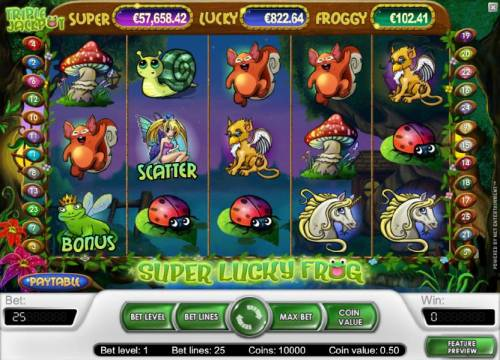 Super Lucky Frog Review Slots main game board featuring five, 25 paylines and 4 bonus  jackpots