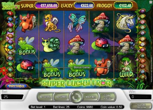 Super Lucky Frog Review Slots bonus game triggered by three frog symbols
