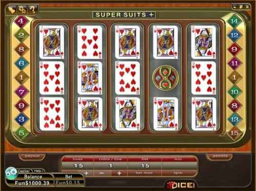 Super Suits + Review Slots main game board featuring 5 reels and 15 paylines
