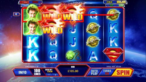 Superman the Movie Review Slots Wild symbols combine to trigger a 105.00 payout.