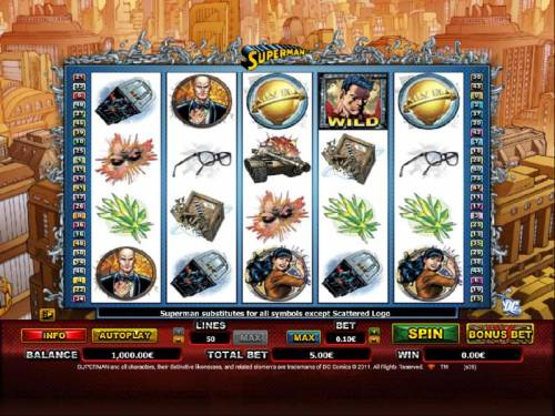 Superman Review Slots main game board featuring 5 reels and 50 paylines