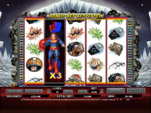 Superman Review Slots expanding wild with a multiplier is available duing the free games feature. the wild will move from reel to reel during the free spins.