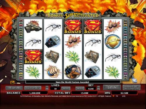 Superman Review Slots three bonus symbols trigger save the world bonus feature