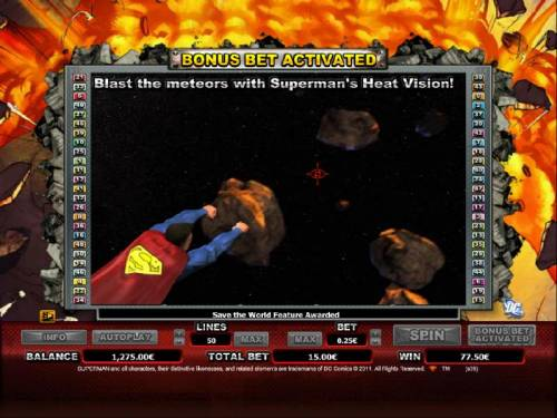 Superman Review Slots aim at the meteors and blast away