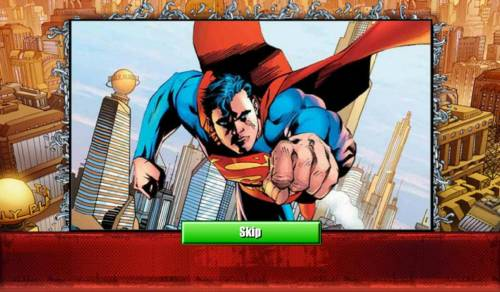 Superman Jackpots Review Slots Introductry splash screen
