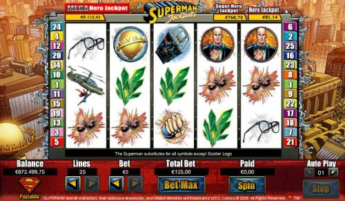 Superman Jackpots Review Slots Main game board featuring five reels and 25 paylines with a Jackpot max payout
