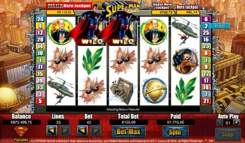 Superman Jackpots Review Slots Four of a Kind triggers a $1,715 big win