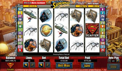 Superman Jackpots Review Slots The Free Spin feature pays out a $775 big win