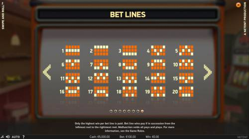 Swipe and Roll Review Slots Paylines 1-20