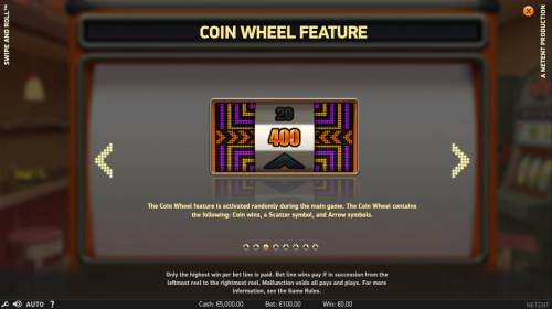 Swipe and Roll Review Slots Coin Wheel Feature