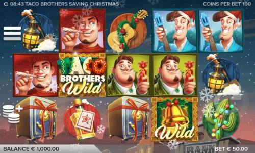 Taco Brothers Saving Christmas Review Slots A festive Mexican Christmas themed main game board featuring five reels and 243 winning combinations with a $75,000 max payout