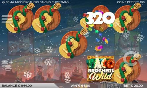 Taco Brothers Saving Christmas Review Slots Multiple winning combinations of guitar symbols leads to a 320 coin jackpot.