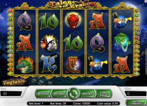 Tales of Krakow Review Slots main game board featuring five reels and 30 paylines