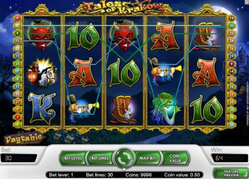 Tales of Krakow Review Slots multiple winning paylines triggered a 64 coin payout
