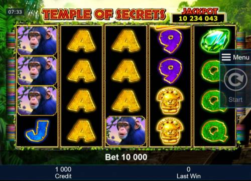 Temple of Secrets Review Slots Main game board featuring five reels and 50 paylines with a progressive jackpot max payout.