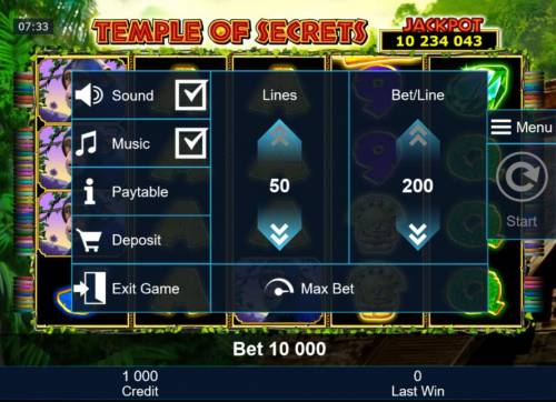 Temple of Secrets Review Slots Click on the side menu button to adjust the Lines or Coin Size.