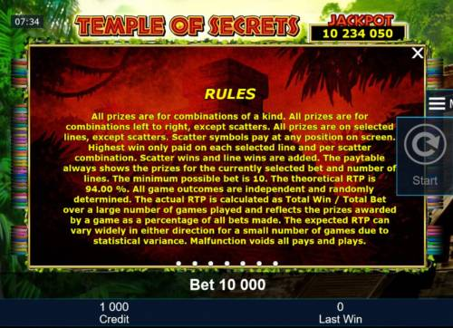 Temple of Secrets Review Slots General Game Rules - The theoretical average return to player (RTP) is 94.00%.