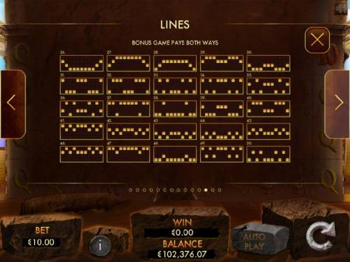 Temple of Luxor Review Slots Bonus Game Payline Diagrams 25-50 - Pays Both Ways