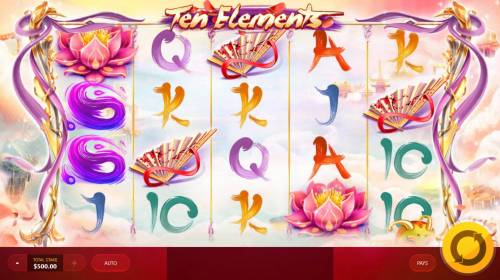 Ten Elements Review Slots Main game board featuring five reels and 40 paylines with a $12,500 max payout.