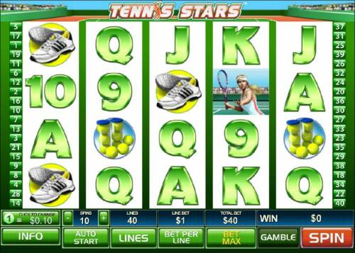 Tennis Stars Review Slots main game board featuring five reels, forty paylines and a 5000x max payout