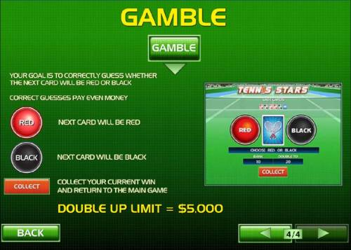 Tennis Stars Review Slots Gamble feature rules and how to play