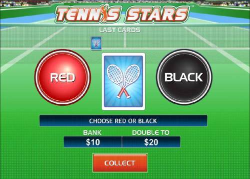 Tennis Stars Review Slots Gamble feature game board - Choose a color for a chance to increase your winning.