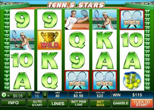 Tennis Stars Review Slots Bonus feature triggered