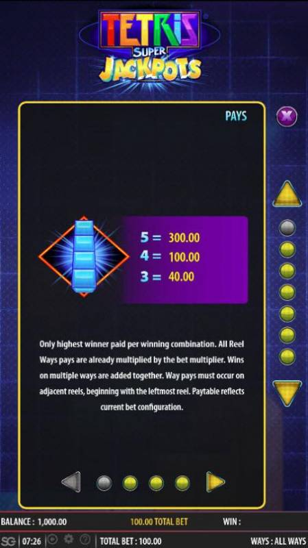 Tetris Super Jackpots Review Slots High value slot game symbols paytable
