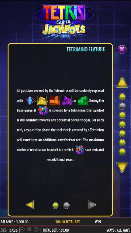 Tetris Super Jackpots Review Slots Tetrimino Feature Rules - Continued