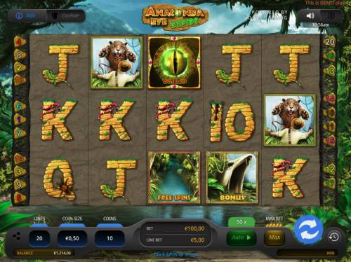 Anaconda Eye Rapids Review Slots Main game board featuring five reels and 20 paylines with a $35,000 max payout.