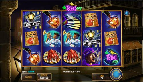 The Big Easy Review Slots Main game board featuring five reels and 20 paylines with a $25,000,000 max payout.