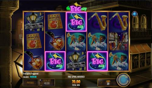 The Big Easy Review Slots Bonus feature triggered