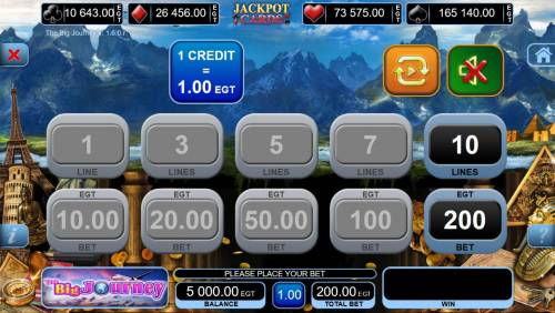 The Big Journey Review Slots Betting Options