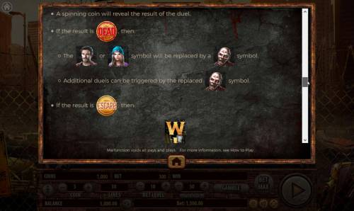 The Dead Escape Review Slots Duels Feature Rules - Continued