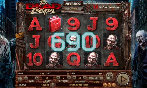 The Dead Escape Review Slots Multiple winning paylines triggers a 690 coin big win during the free spins feature!