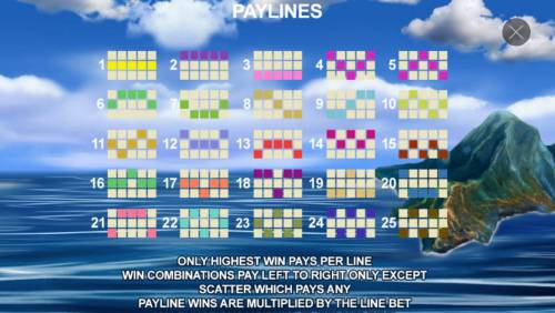The Discovery Review Slots Payline Diagrams 1-25. Only the highest win pays per line. Win combinations pay left to right except scatter symbols which pay any. Payline wins are multiplied by line bet.