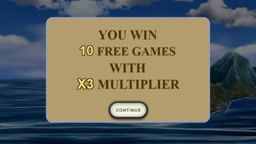 The Discovery Review Slots 10 free games awarded with a 3x multiplier.