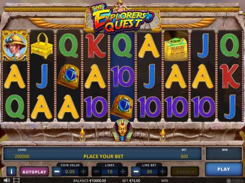 The Explorers' Quest Review Slots Main game board featuring nine reels and 10 paylines with a $75,000 max payout.