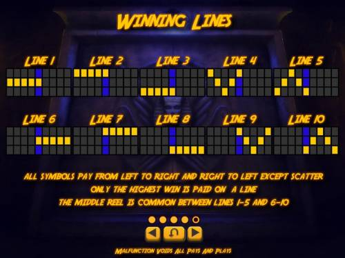 The Explorers' Quest Review Slots Payline diagrams 1-10. All symbols pay from left to right and right to left except scatter. Only the highest win is paid on a line.