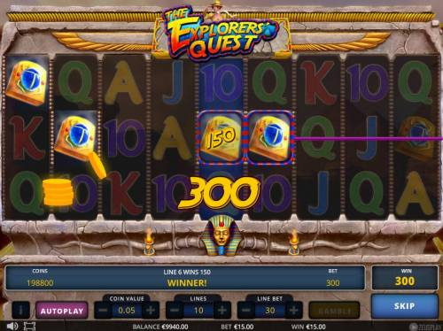 The Explorers' Quest Review Slots A pair of winning paylines.