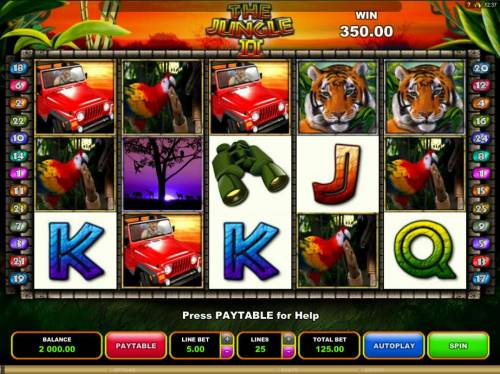 The Jungle II Review Slots An African safari adventure themed main game board featuring five reels and 25 paylines with a $50,000 max payout.