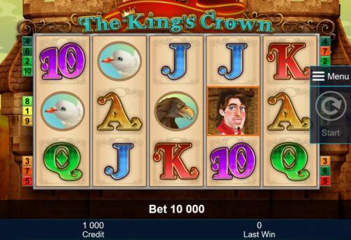 The King's Crown Review Slots A medieval royal kingdom themed main game board featuring five reels and 10 paylines with a $2,000,000 max payout