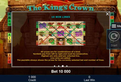 The King's Crown Review Slots 10 Win Lines - All prizes are for combinations of a kind. Symbols pay left to right and must be consecutive.