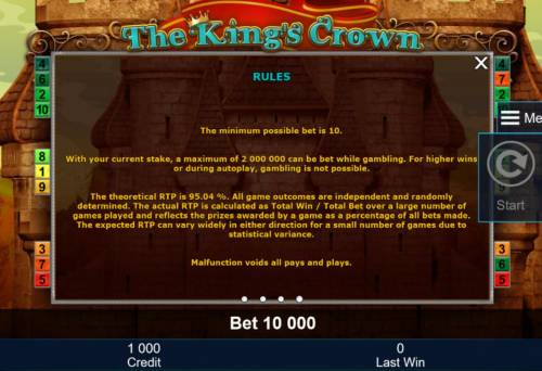 The King's Crown Review Slots General Game Rules - The theoretical average return to player (RTP) is 95.04%.