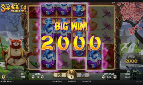 The Legend of Shangri-La Review Slots Mystery symbols triggers a 2000 coin big win