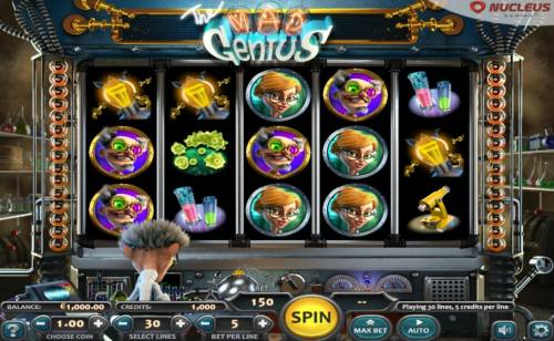 The Mad Genius Review Slots Main game board featuring five reels and 30 paylines with a $12,500 max payout.