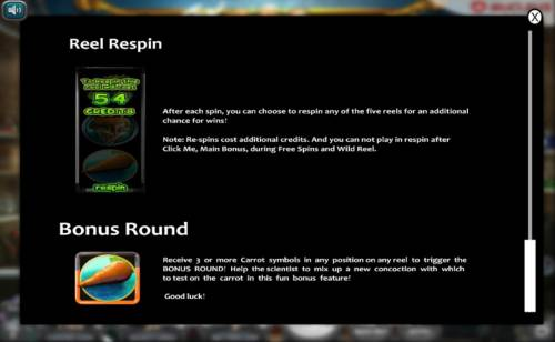 The Mad Genius Review Slots Reel Respin and Bonus Round Rules