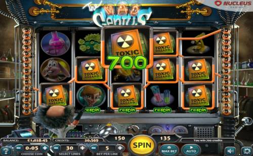 The Mad Genius Review Slots Multiple winning Toxic Hazard symbols leads to a 700 jackpot award.