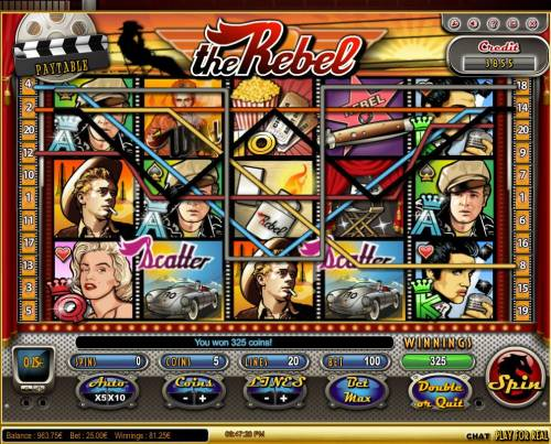 The Rebel Review Slots A 325 coin pay out triggered by multiple winning combinations.